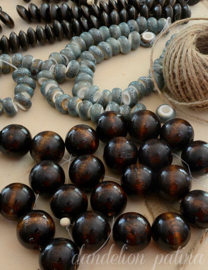 Potterybarn inspired decorative string of beads by dandelion patina