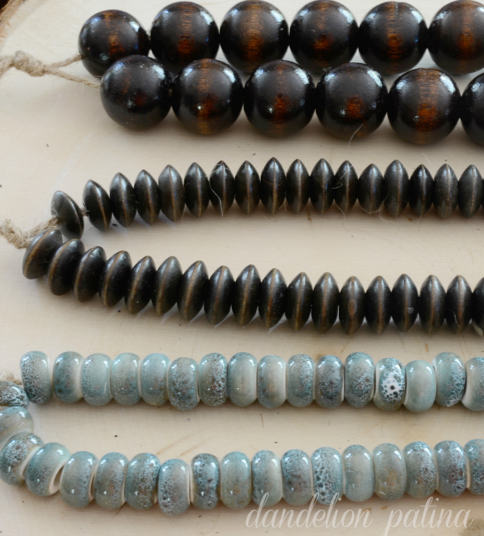 DIY Potterybarn Inspired decorative string of beads by dandelion patina