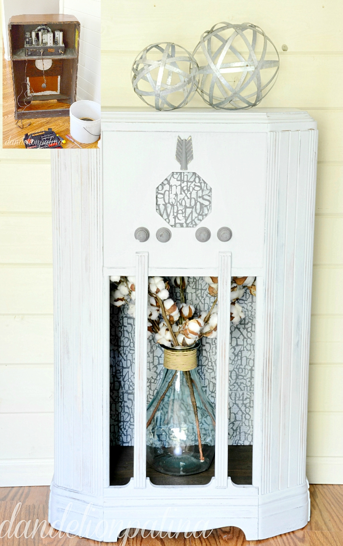 Check out this amazing before and after furniture transformation! This cast away vintage radio cabinet was given a makeover with DecoArt Chalky Finish paint. It now is a stylish farmhouse industrial piece. Visit dandelionpatina.com for the full tutorial. #chalkyfinish #secondchances