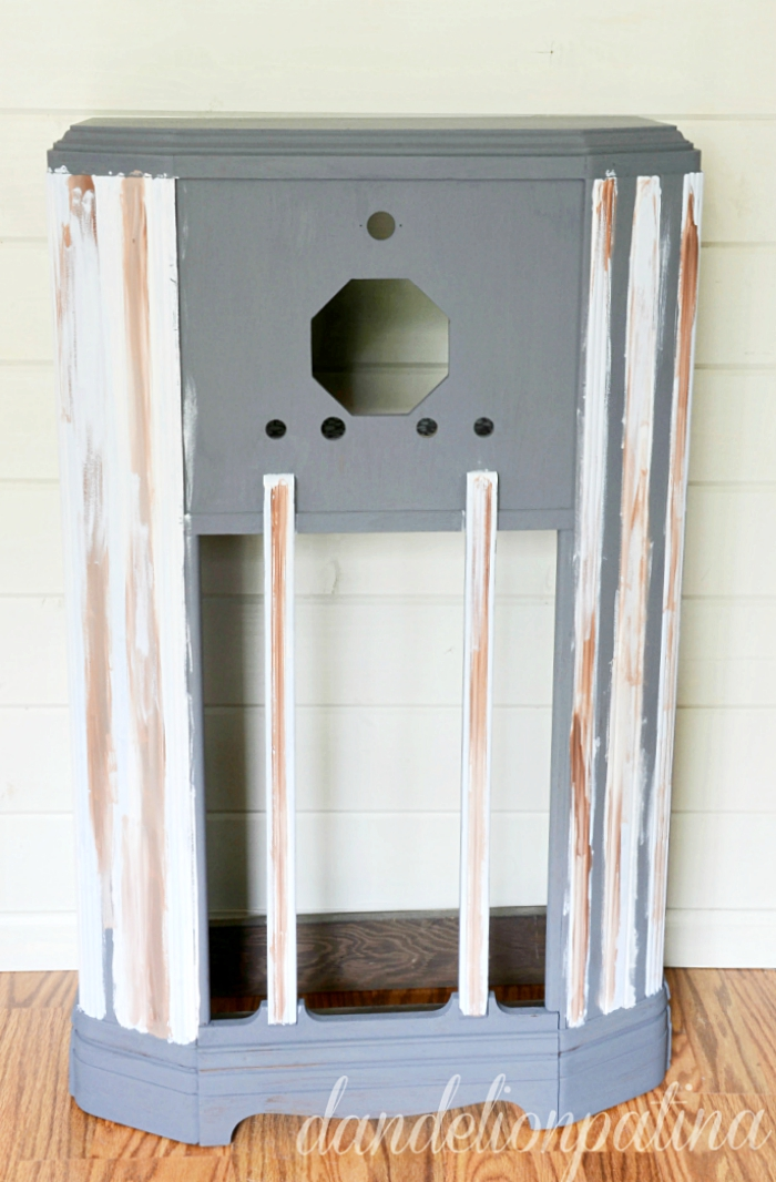 transforming a vintage radio cabinet into a farmhouse shelf with industrial flair using decoart chalky finish paint