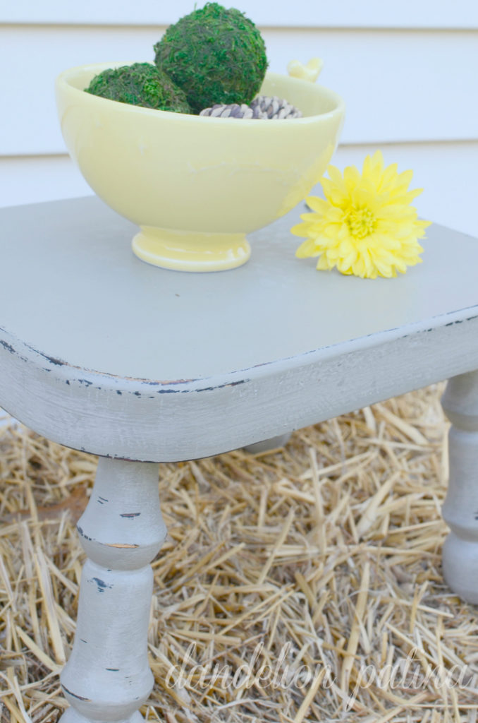 CeCe Caldwell painted wooden stool in Young Kansas Wheat and Seattle Mist. Transform a piece you love in minutes.