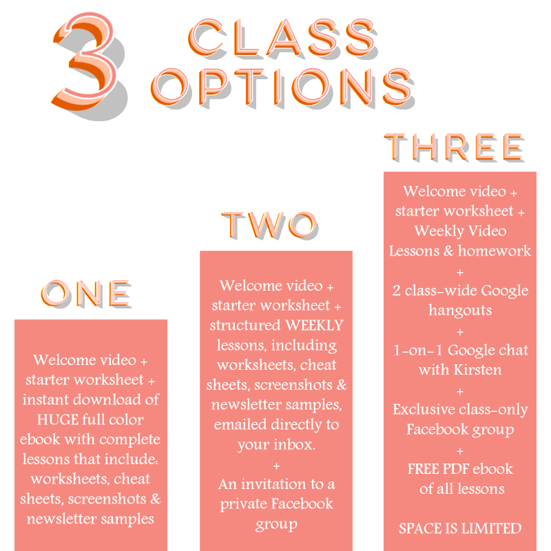 inbox of opportunity class options with Sweet Tea & Saving Grace blog
