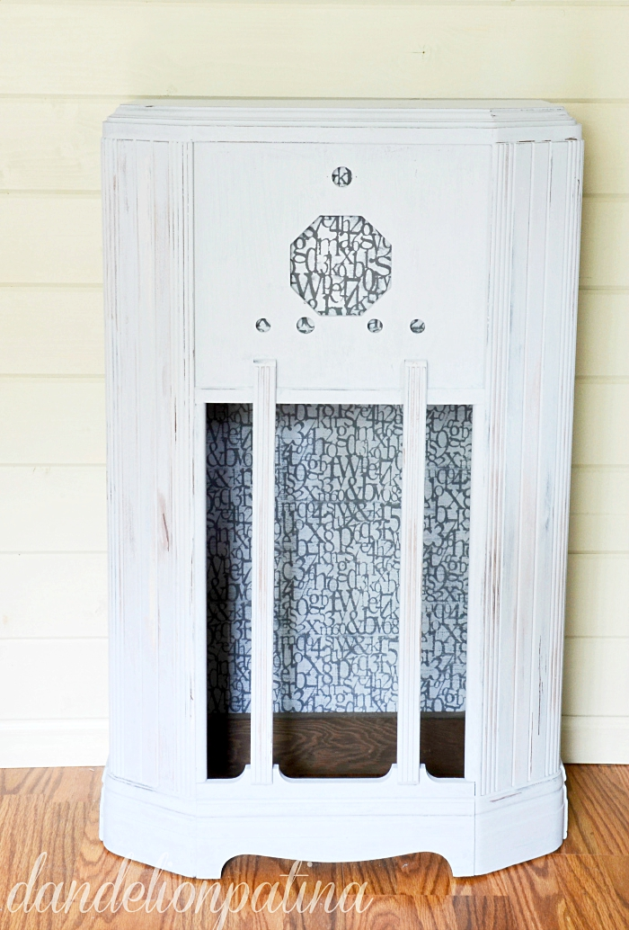 farmhouse industrial cabinet transformed with decoart chalky finish paint