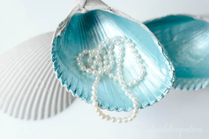 Seashell jewelry bowls with vintage glass knob pedestals