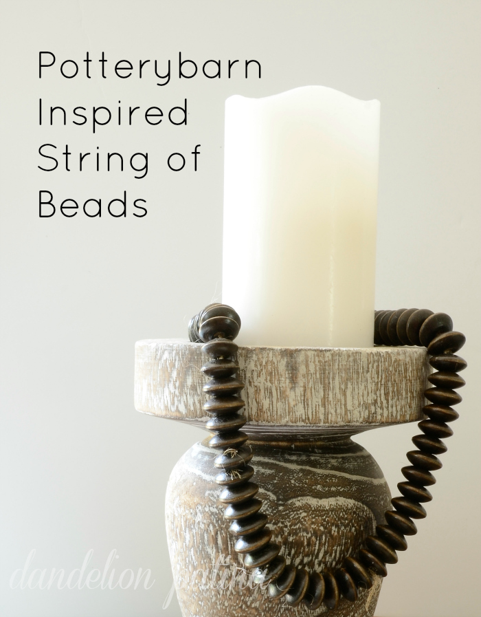 Create your own Potterybarn inspired decorative string of beads to decorate your home and unique finds with. Love how these beads add character and texture to decorative accessories. This project is budget-friendly by dandelion patina