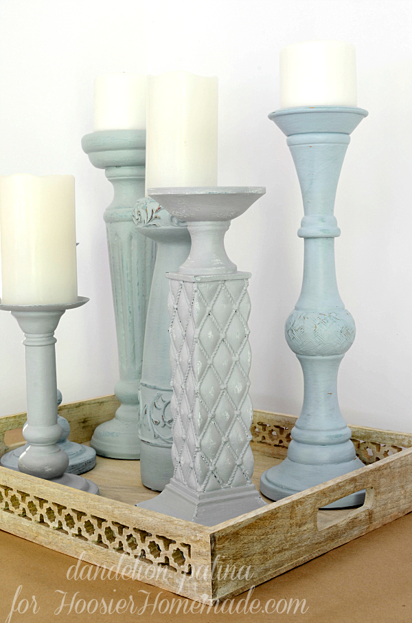 Americana chalky finish candleholders transformed in a few easy steps. These were so easy to update to the color and decor style I currently have. When I get bored with the color, I can just paint right over them again!