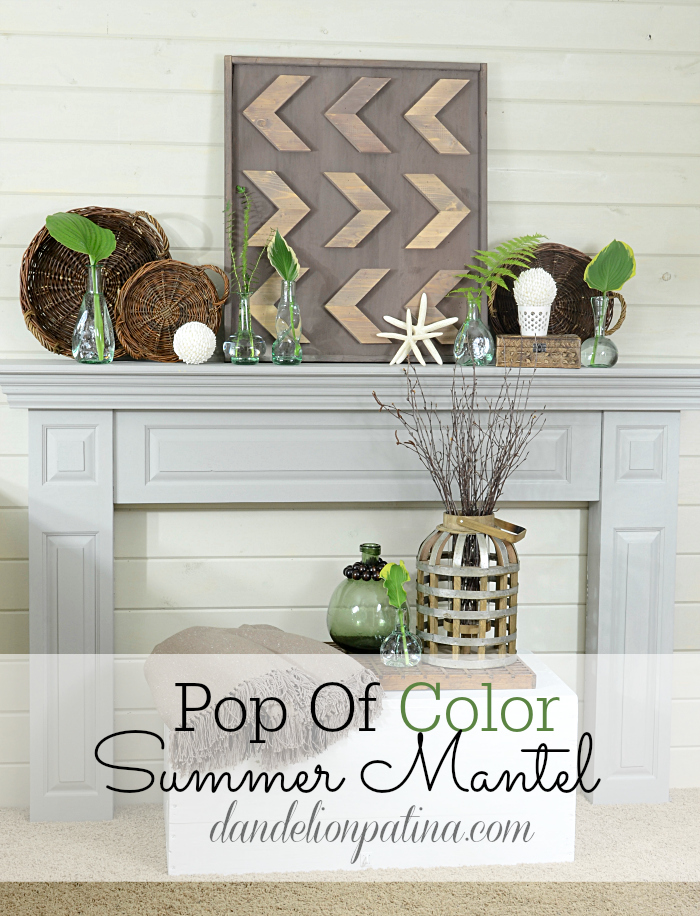 Pop of color summer mantel