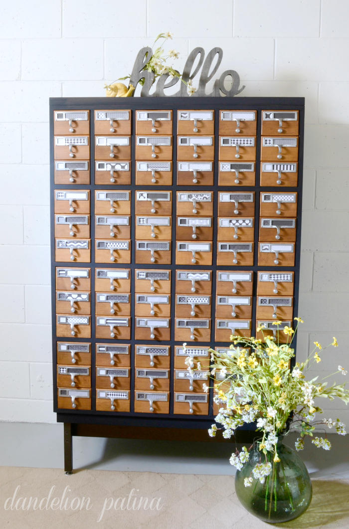 Two tone painted card catalog Dandelion Patina