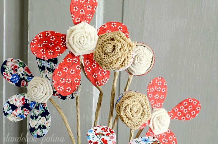 DIY fabric tape flowers in red white and blue with burlap and birch vase