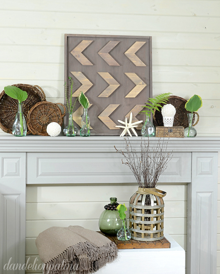 green pop of color summer mantel