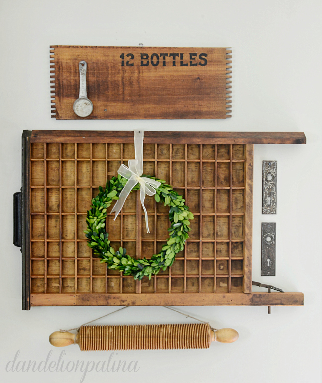 how to style a vintage printers tray
