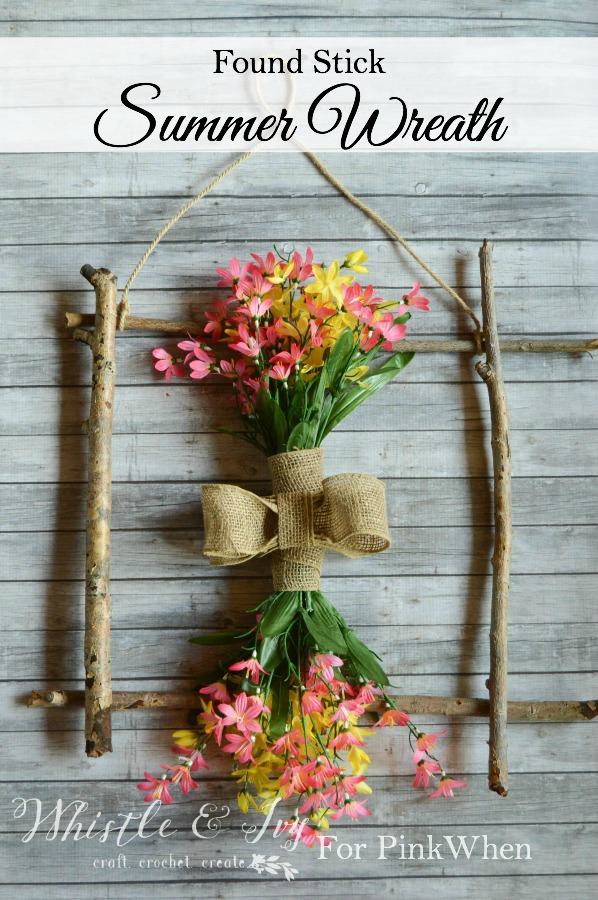 found stick summer wreath
