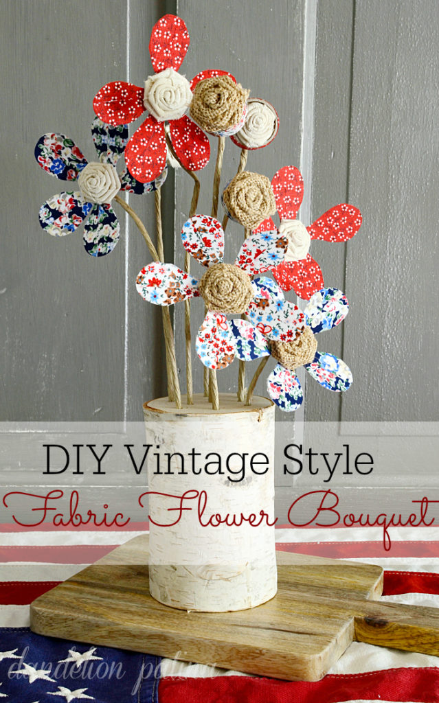Interested in creating flowers that last a lifetime? These vintage style DIY fabric flowers are simple to create and are super cute as a table centerpiece or summer vignette.
