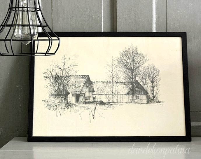 black and white barn sketches