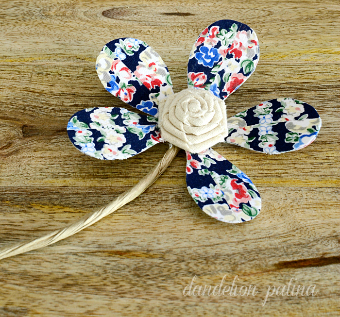 rustic style flowers in red white and blue vintage style