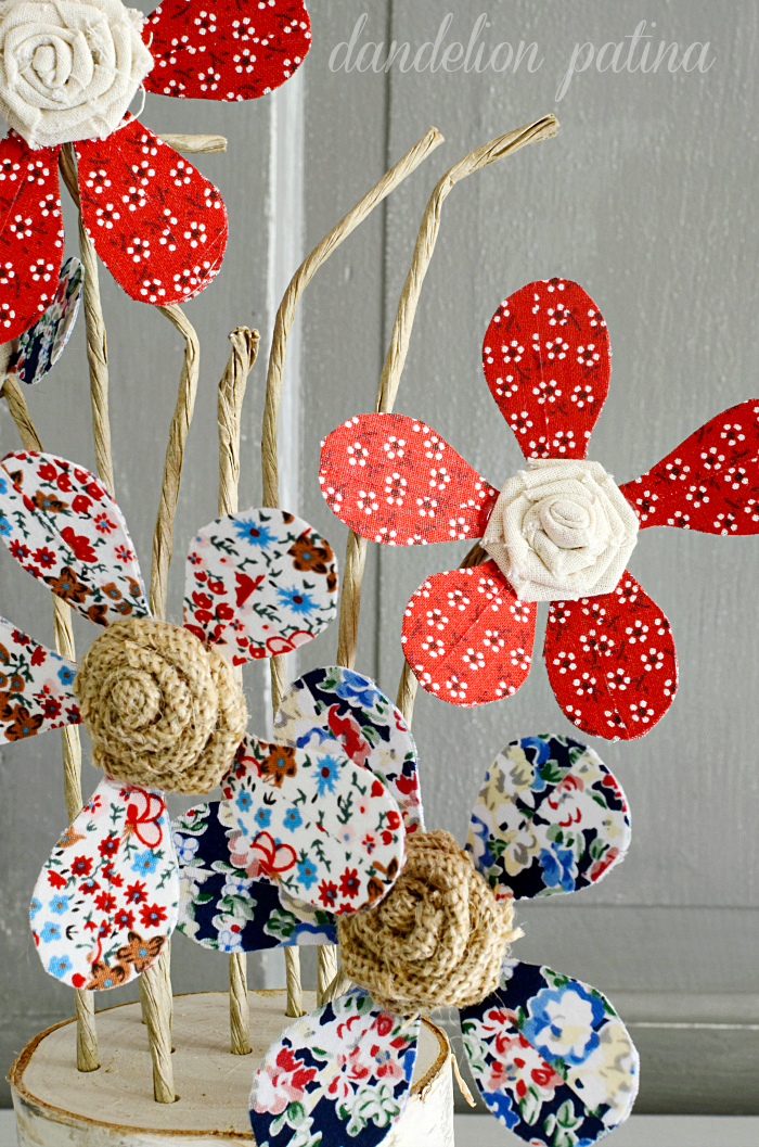 rustic and vintage style flower bouquet in red white and blue with burlap