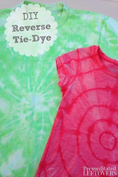 reverse tie dye t shirt diy