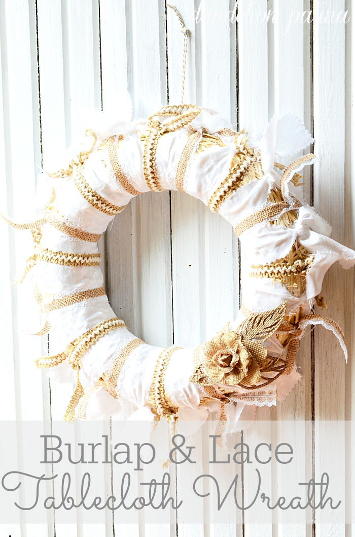 ARE YOU A LOVER OF BURLAP? This is an amazing project! Combine burlap, lace, and a white tablecloth to create this unique rustic and feminine wreath for your home decor. Project via dandelionpatina.com