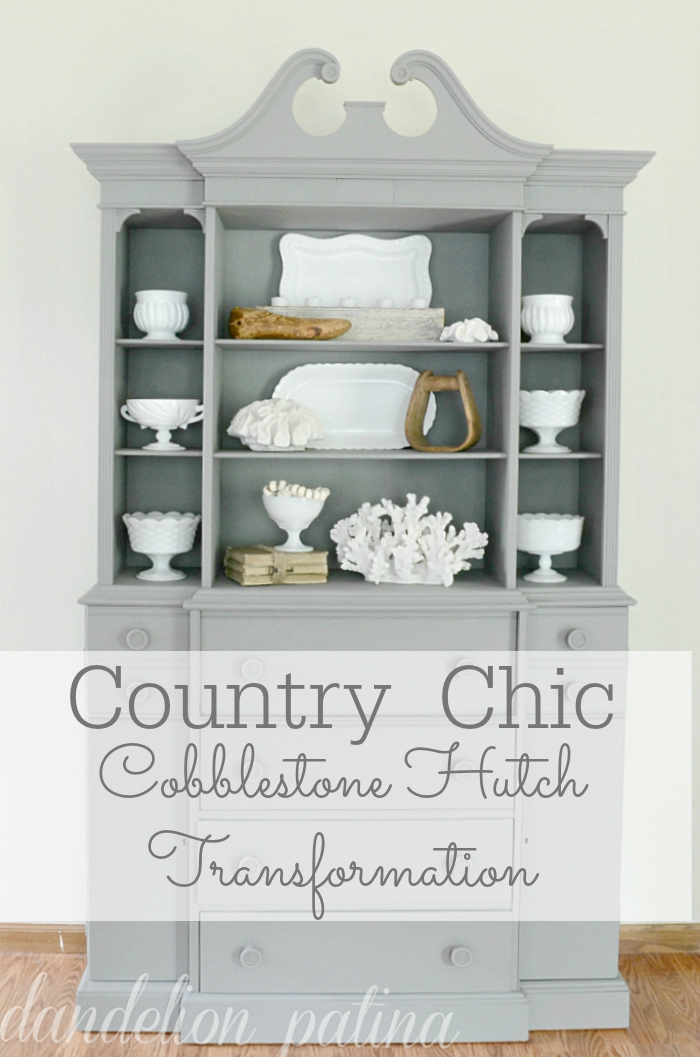 country chic cobblestone hutch transformation via dandelionpatina.com