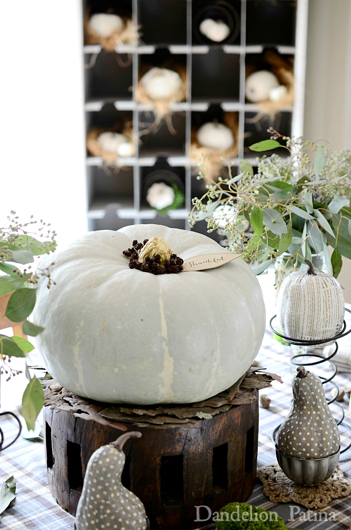 fall farmhouse home tour with neutral soft green tablescape via dandelionpatina.com