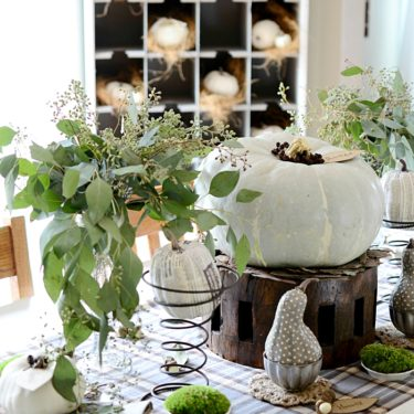 fall farmhouse tablescape dandelion patina