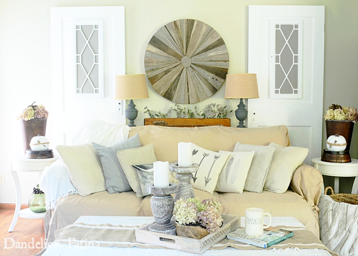 fall farmhouse style living room via dandelionpatina.com