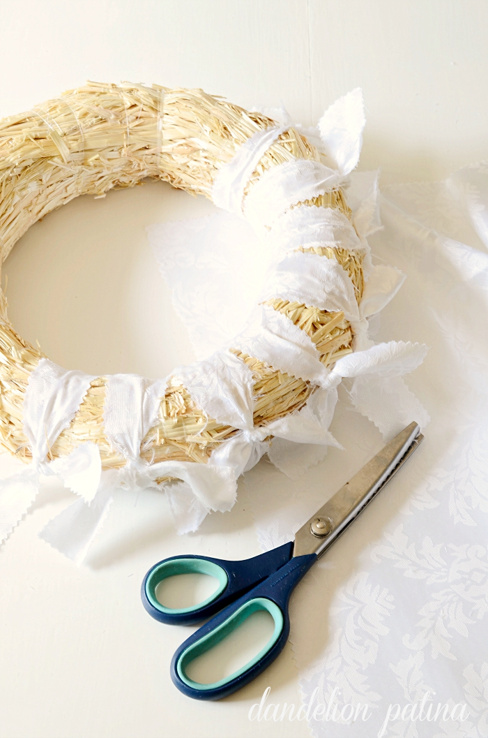 burlap and lace tablecloth wreath