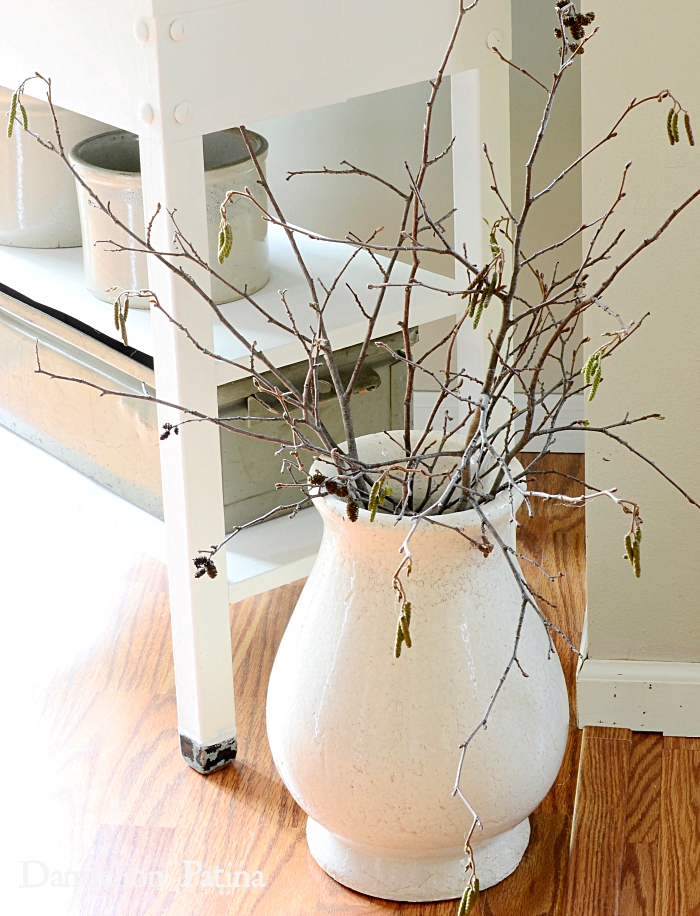 birch branches in farmhouse style vase farmhouse fall home tour via dandelionpatina.com