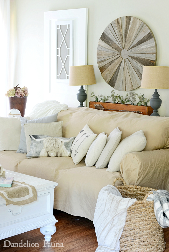 neutral farmhouse style living room farmhouse fall home tour via dandelionpatina.com