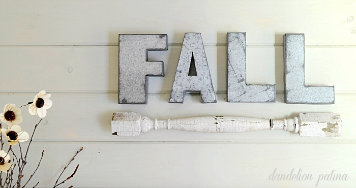 Neutral fall mantel with galvanized letters spelling out fall. Mantel by dandelionpatina.com