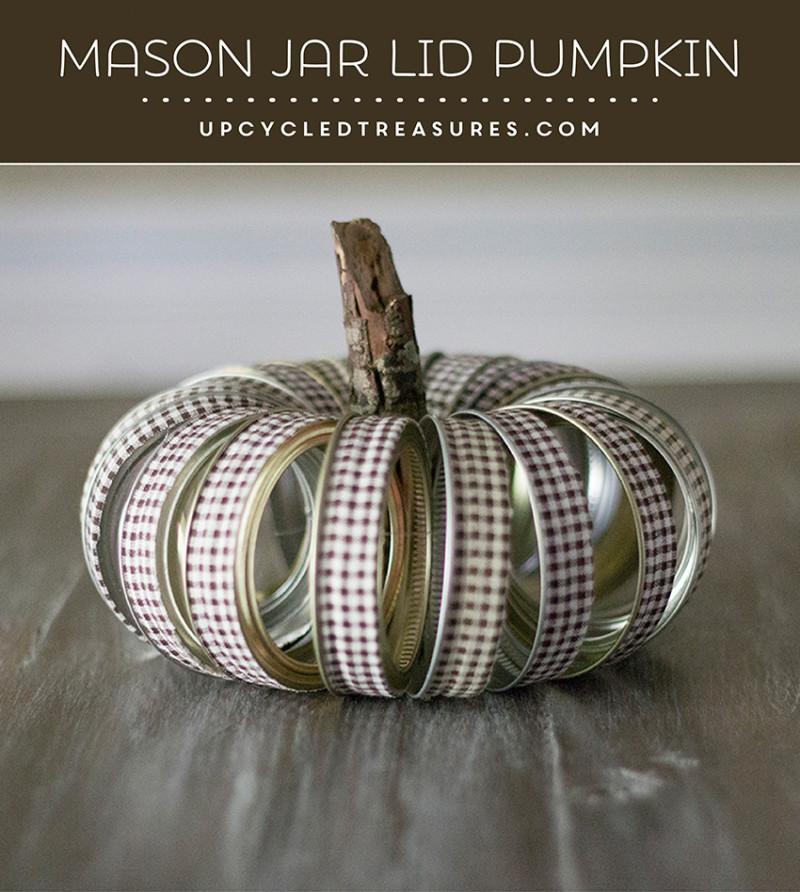 rustic mason jar lid pumpkin
