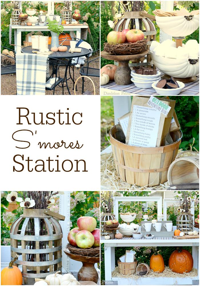 Rustic Smores Station dandelionpatina.com
