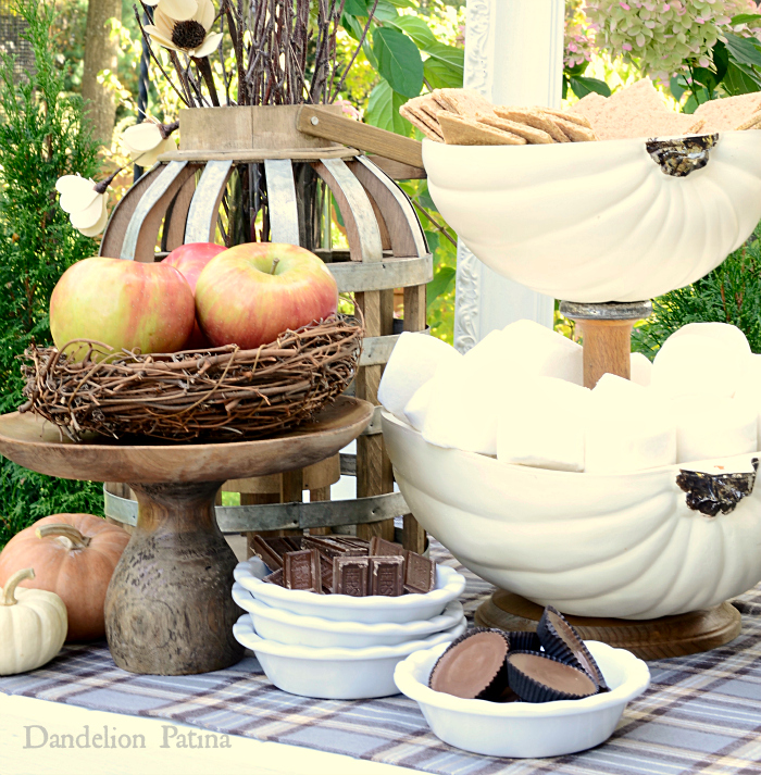 farmhouse style pumpkin tiered tray for s'mores station