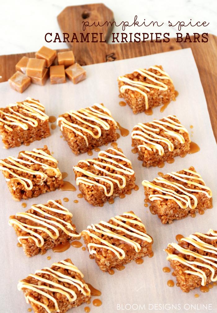 pumpkin spice caramel krispie bars