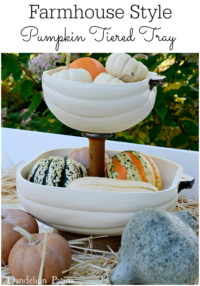 So incredibly clever! This tiered tray created with half pumpkins from Michael's and a vintage spool. Tutorial via dandelionpatina.com #farmhousestyle #pumpkin