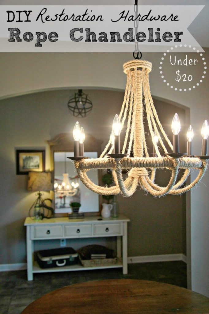 DIY rope chandelier from Bless'er House
