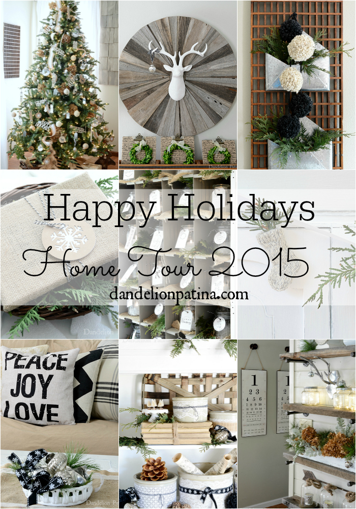 Happy Holidays Home Tour 2015 featuring gorgeous cottage style neutral decor and industrial flair via dandelionpatina.com #cottagestyle #farmhousestyle