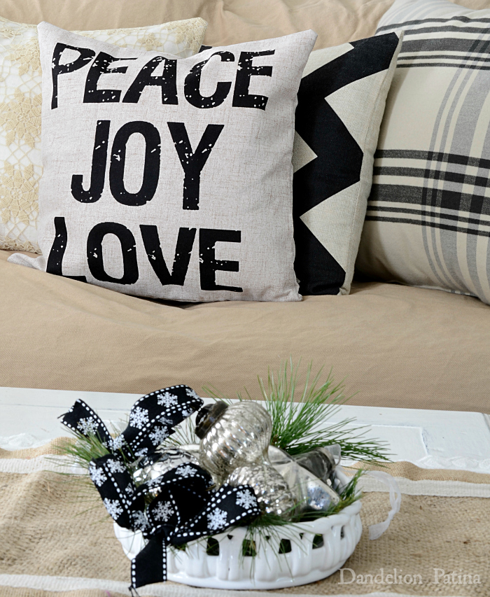 Happy Holidays Home Tour with Country Living Magazine peace joy love pillow with mercury ornaments via dandelionpatina.com