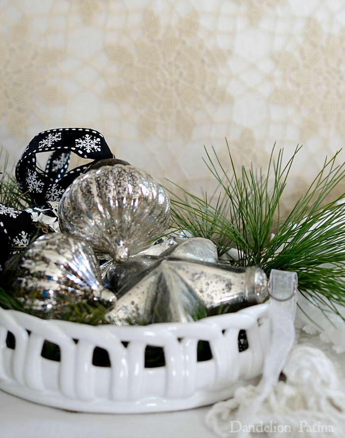 Happy Holidays Home Tour with Country Living Magazine. Bowl of mercury glass ornaments via dandelionpatina.com