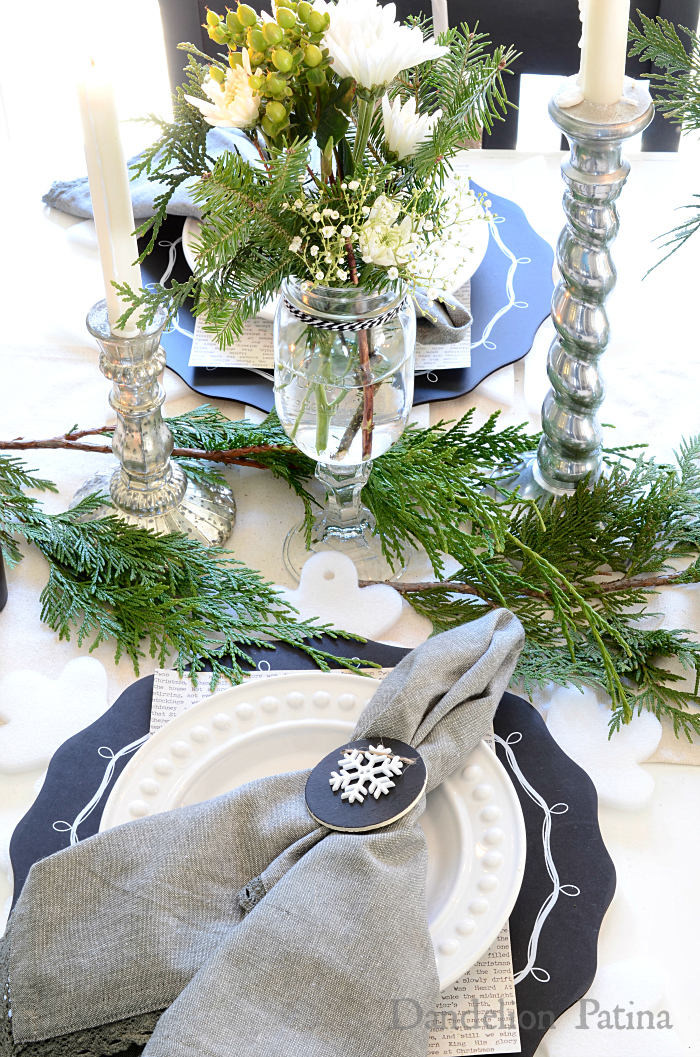 Happy Holidays Home Tour with Country Living Magazine Christmas tablescape with cedar sprigs and mason jar vases via dandelionpatina.com