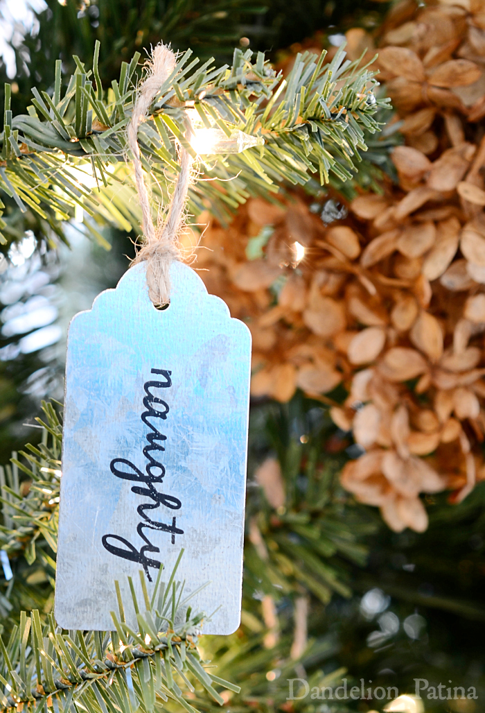Happy Holidays Home Tour with Country Living Magazine featuring lovely farmhouse style neutral Christmas tree and galvanized gift tags as ornaments via dandelionpatina.com