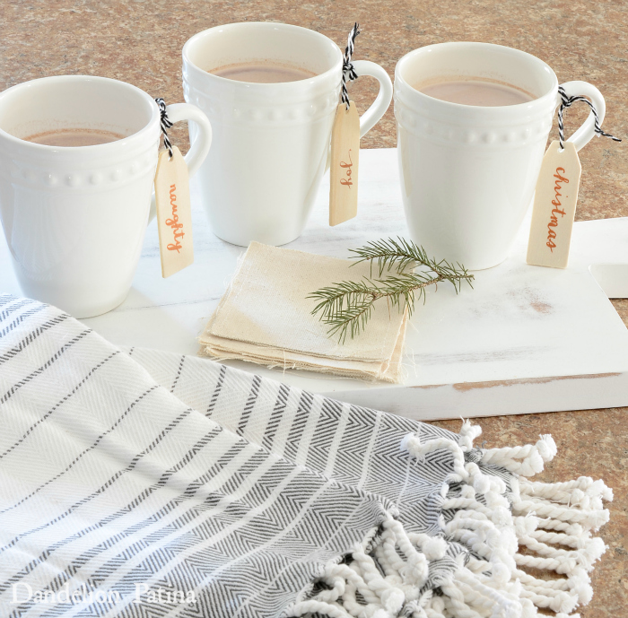 Happy Holidays Home Tour with Country Living Magazine white mugs of hot cocoa via dandelionpatina.com