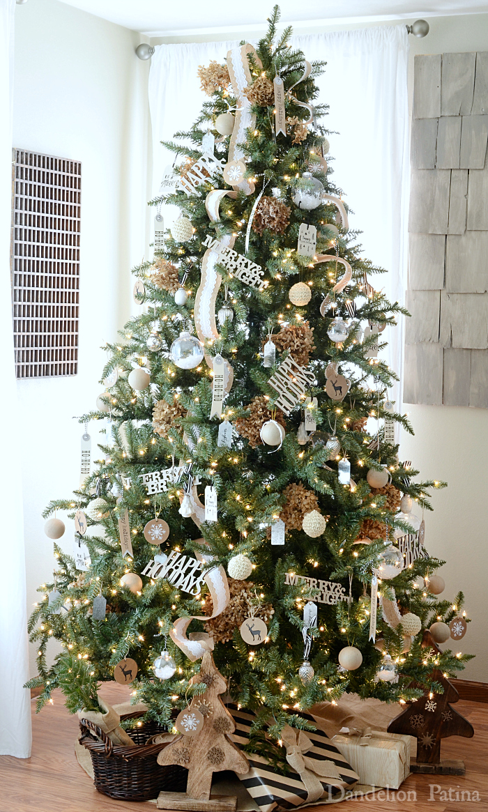 Happy Holidays Home Tour with Country Living Magazine neutral Christmas tree decorated with gift tags as ornaments via dandelionpatina.com