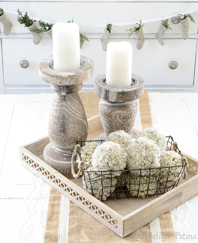 Happy Holidays Home Tour with Country Living Magazine. Chunky candle holders with DIY pom poms via dandelionpatina.com