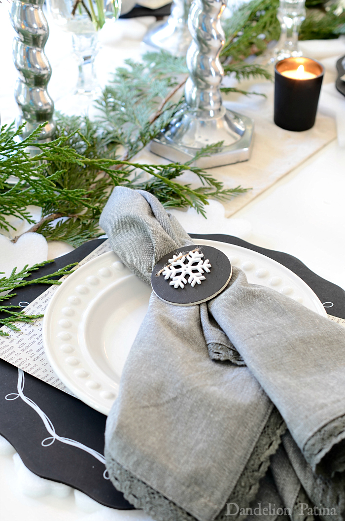 Happy Holidays Home Tour with Country Living Magazine neutral tablescape with chalkboard chargers via dandelionpatina.com