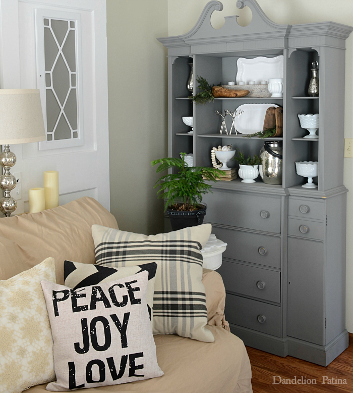 Happy Holidays with Country Living Magazine Living Room gray hutch decorated for Christmas farmhouse style via dandelionpatina.com