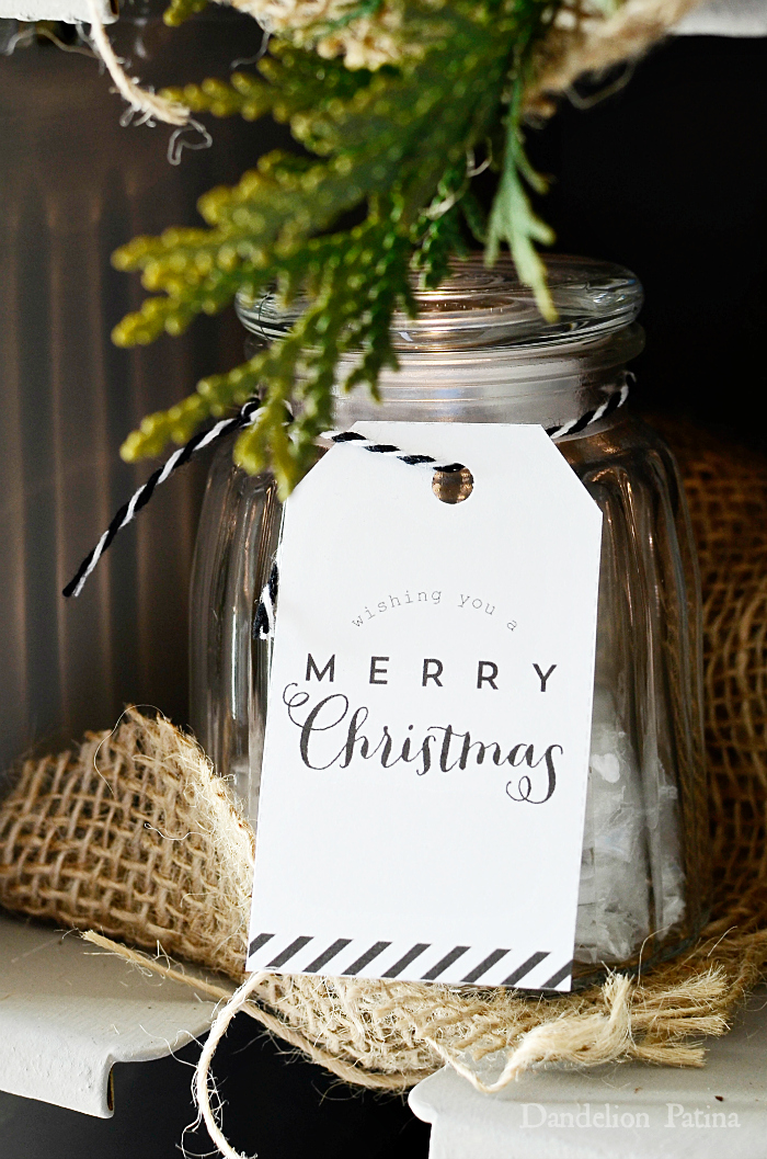 cottage style black and white modern calligraphy gift tags attached to glass jars via dandelionpatina.com