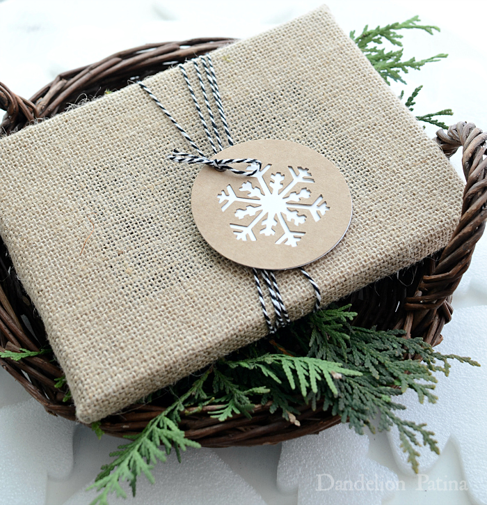 cottage style gift wrapping with burlap and bakers twine via dandelionpatina.com #cottagestyle
