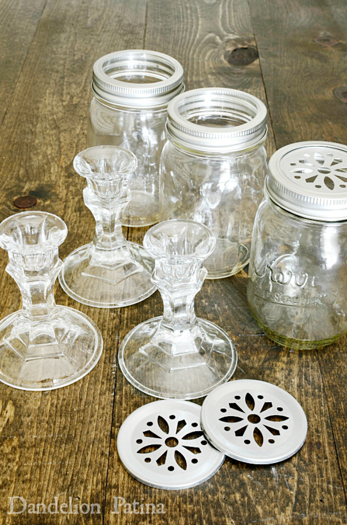 how to make mason jar pedestal vases from glass candlesticks