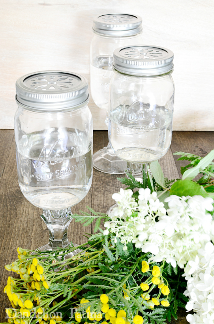 how to make mason jar vases with candle holders via dandelionpatina.com